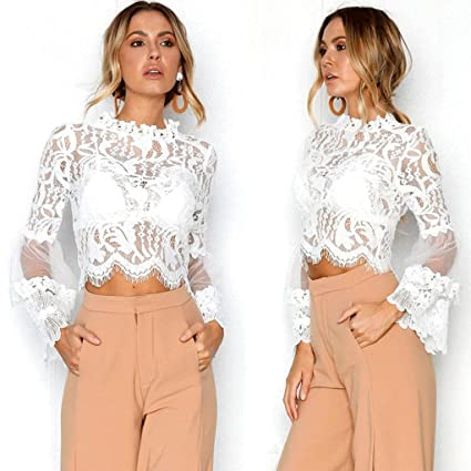 c72baacbc20a Amazon.com: Snowfoller Women Lace Tops Fashion Floral Mesh Hollow Out  Blouse Casual Half-High Neck Long Flare Sleeve Shirt Crop Tops (XL, White):  Office ...