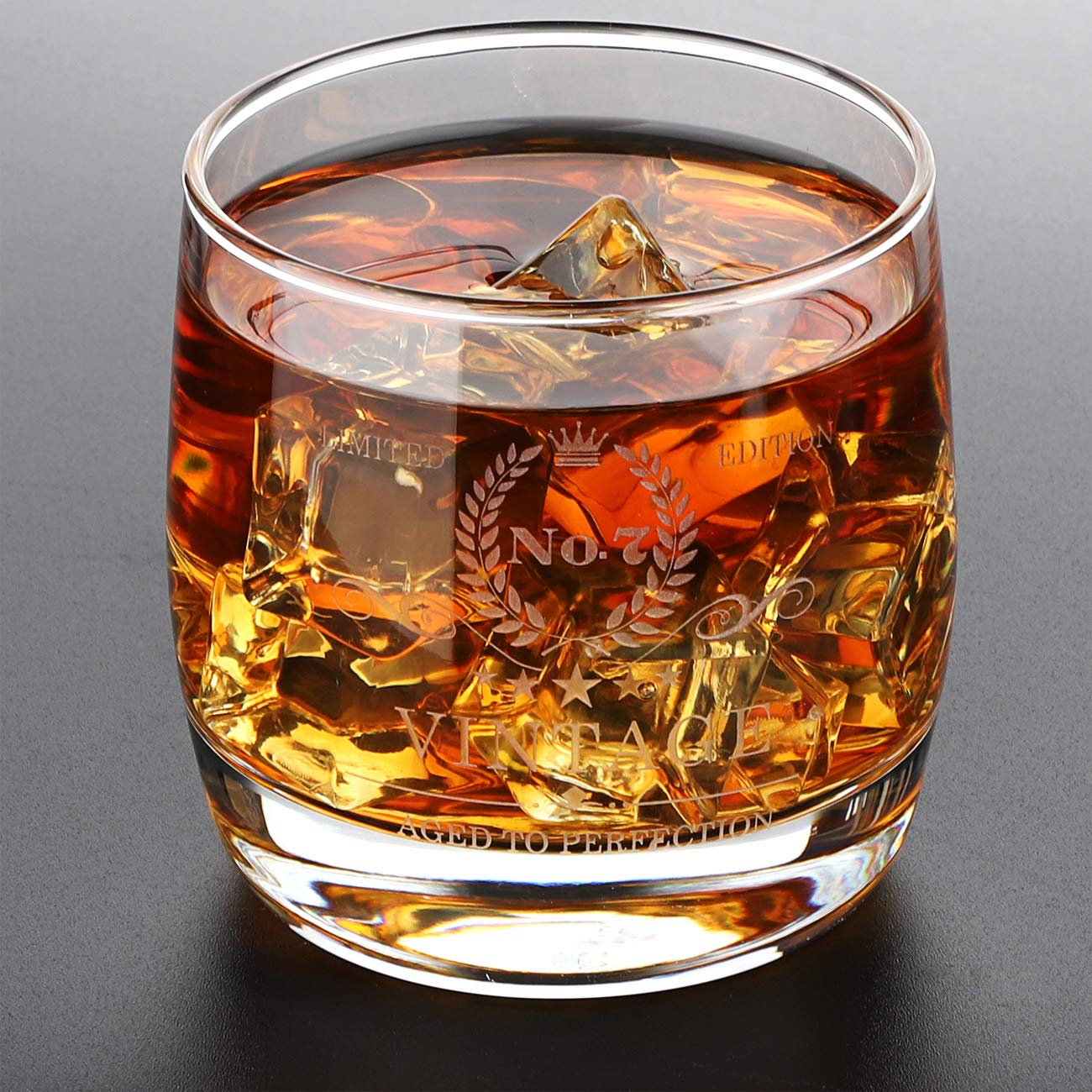 RMBO-US Whiskey Glass - Premium Tasting Tumblers for Whiskey, Scotch Glasses, Bourbon & Cocktail - Laser Engraved, Hand Blown Lead Free Crystal Tasting Cups - A Cheerful Anniversary Gift