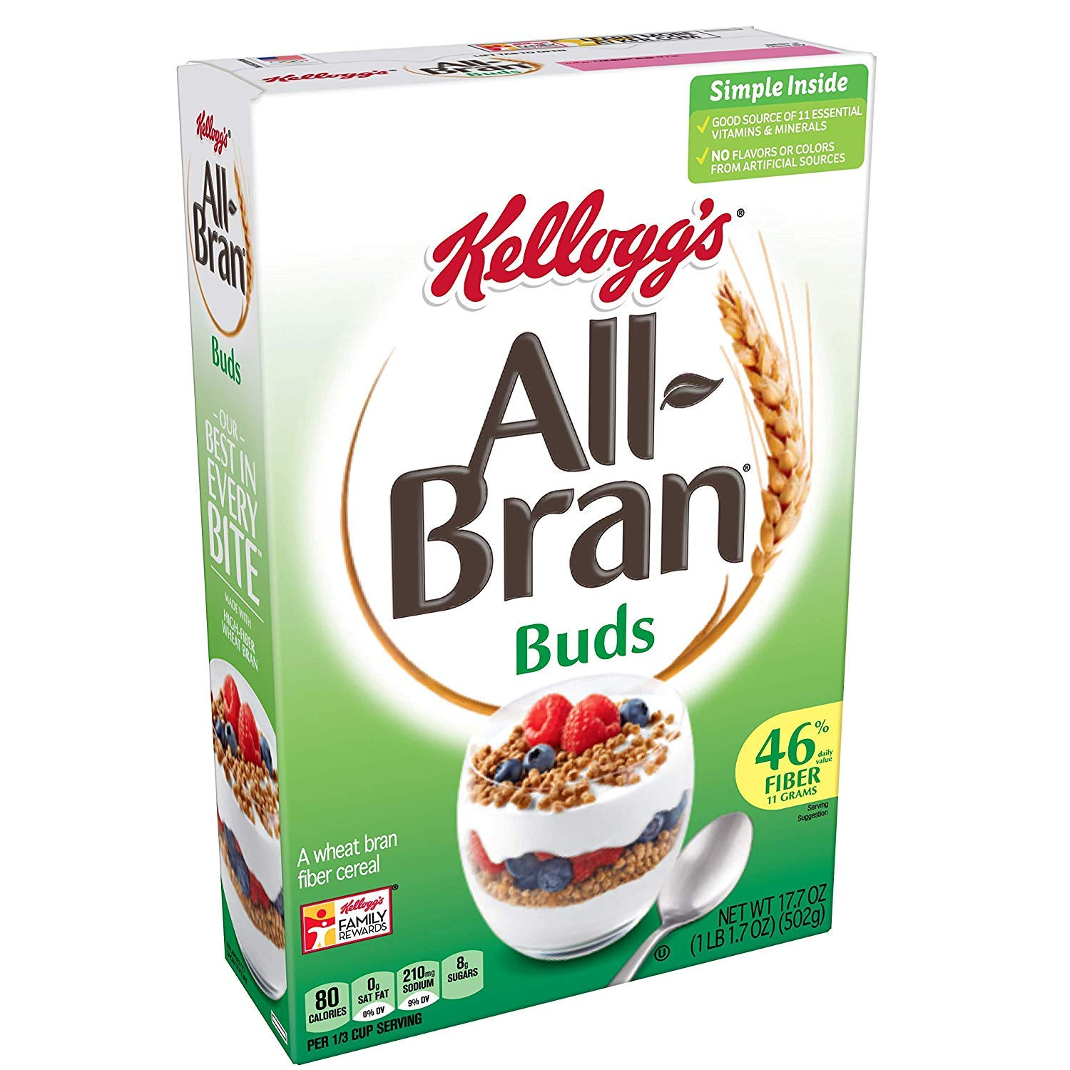 All-Bran Buds, Breakfast Cereal, Wheat Bran, Excellent Source of Fiber, 17.7 oz Box ( 2 PACK )