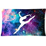 Home Decorative Gymnastic with Print Galaxy Pattern Pillowcase Cushion Cover Design 12 x 20 Inches