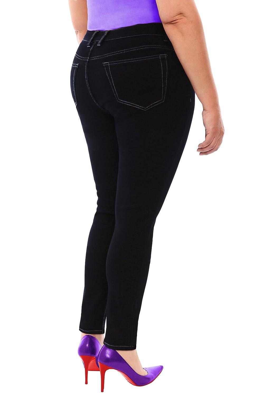 91afa0a765d cheap 360 Stretch Mid Rise Ultra Skinny Denim Jeans (Jeggings) in Black Onyx