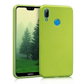 kwmobile Funda para Huawei P20 Lite - Carcasa para móvil en [TPU Silicona] - Protector [Trasero] en [Verde Claro Metalizado]