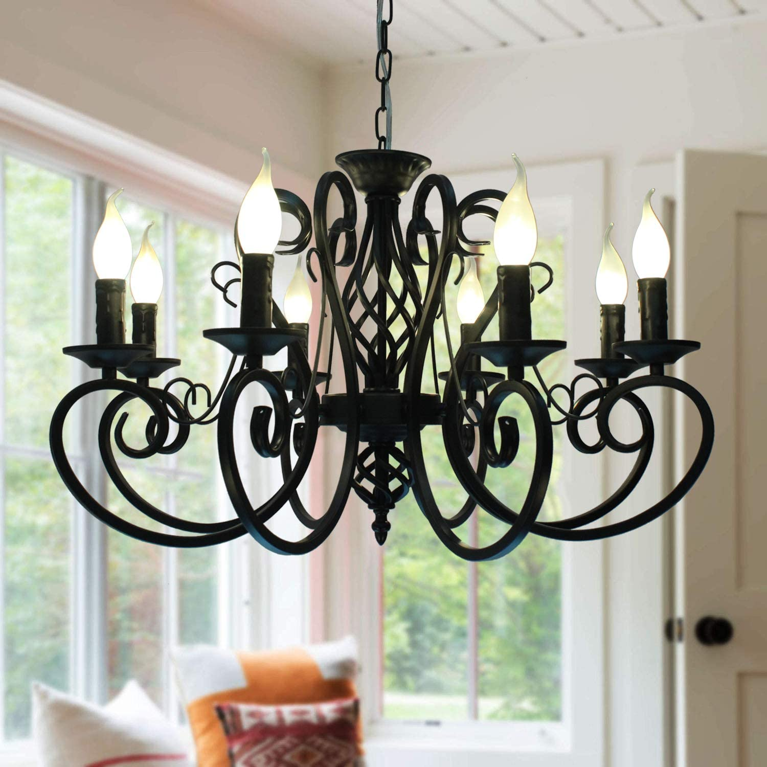 Ganeed French Country Chandeliers,8 Lights Kitchen Island Candle Iron Chandelier,Industrial Vintage Pendant Light Fixture for Farmhouse,Dining Room,Bedroom,Foyer