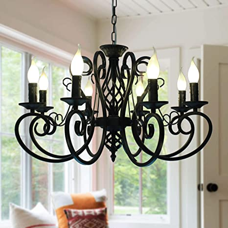 Ganeed French Country Chandeliers,8 Lights Kitchen Island Candle Iron  Chandelier,Industrial Vintage Pendant Light Fixture for Farmhouse,Dining ...
