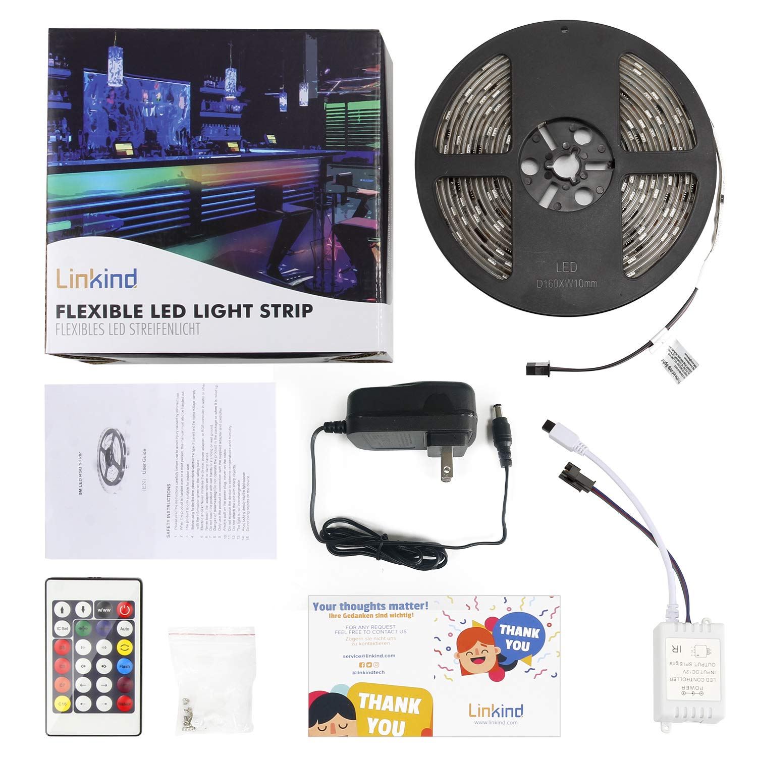 Dreamcolor 16.4ft LED Strip Lights with Remote, Linkind RGB Color Changing Waterproof Light Strip kit, 164 Light Programs with Remote Controller, Cuttable and self-Adhesive
