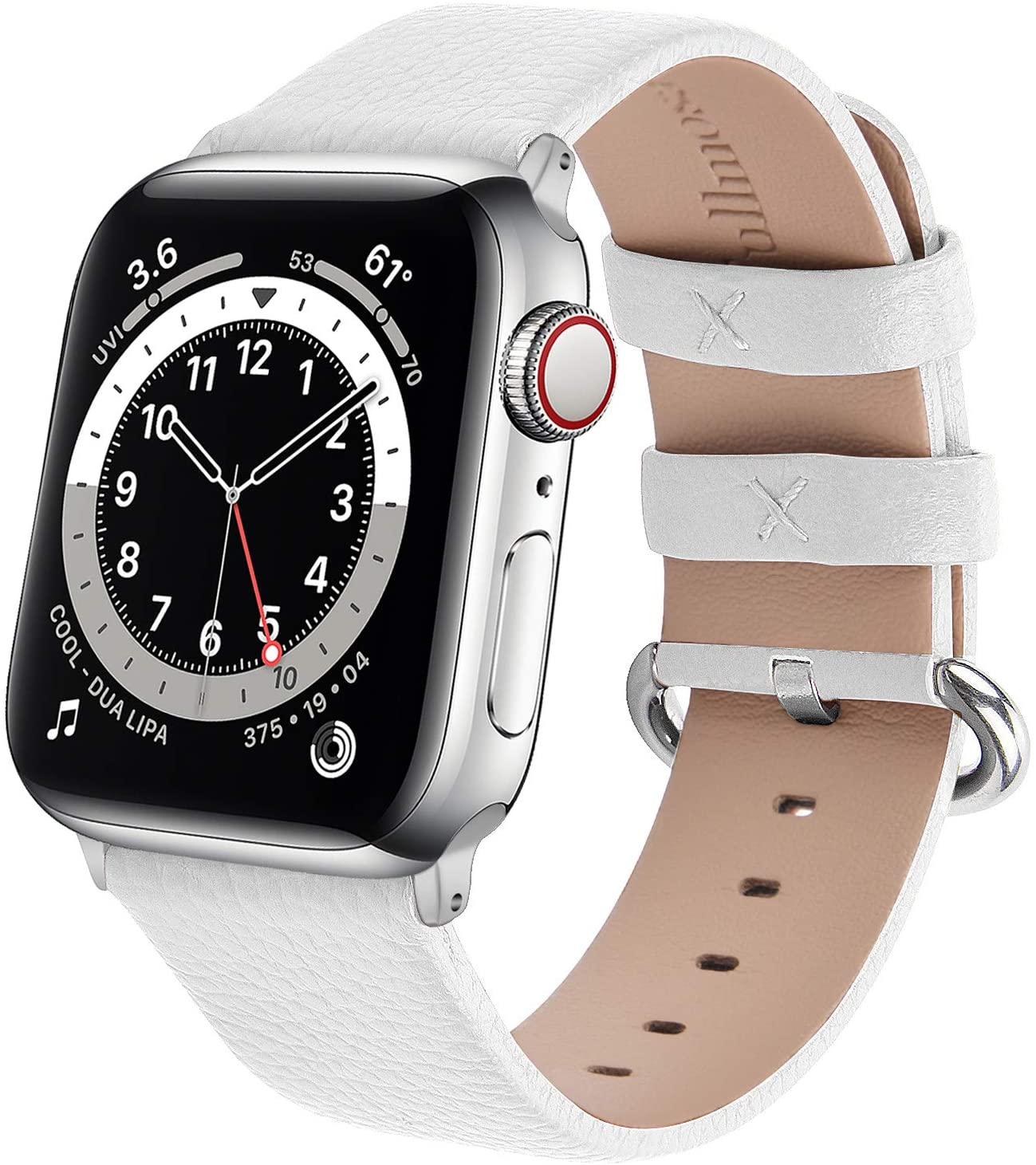 Fullmosa Watchband Compatible for Apple Leather Watch Band 38mm 40mm 42mm 44mm Stainless Steel Silver Buckle Women Men, Replacement Wristbands Strap for iWatch Series 6/SE/5/4/3/2/1, Edition, Sport , White
