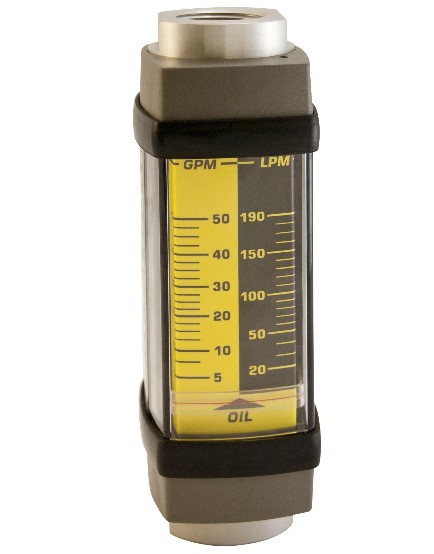 Hedland H601A-010 Flowmeter, Aluminum, For Use With Oil and Petroleum Fluids, 1 - 10 gpm Flow Range, 1/2'' NPT Female