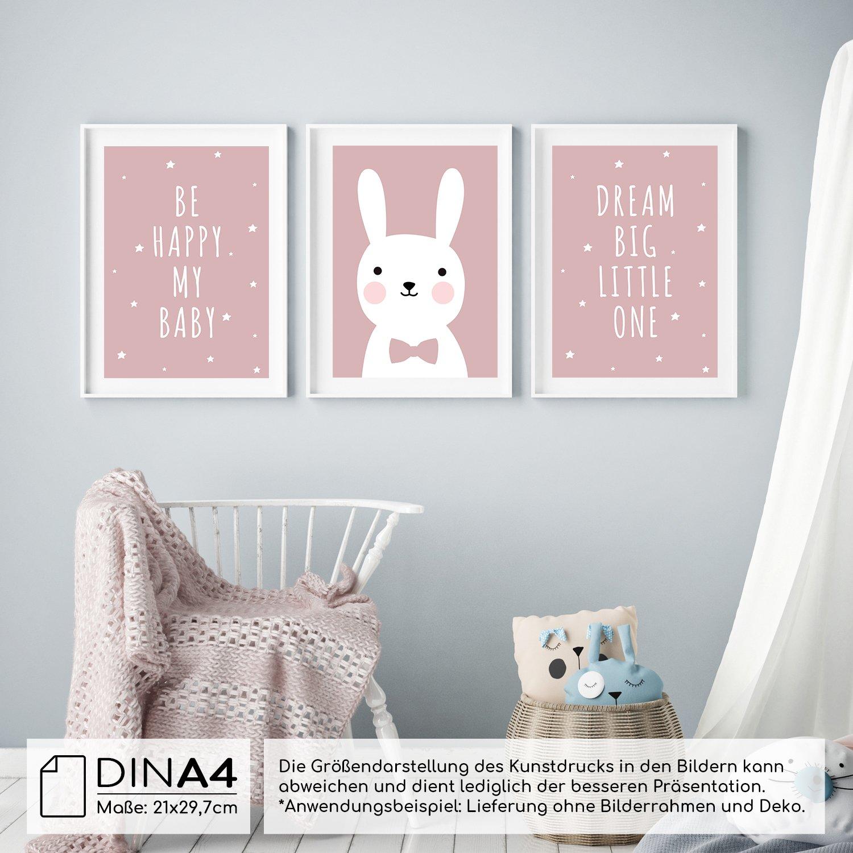 frechdax® 3er Set Kinderzimmer Poster Babyzimmer DIN A4 ohne ...