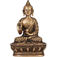 ShopEndHere Blessing Buddha Idol (7 Inch Tall), Hand Crafted Lifestory Buddha Statue, Fine Carving, Antique Brass…