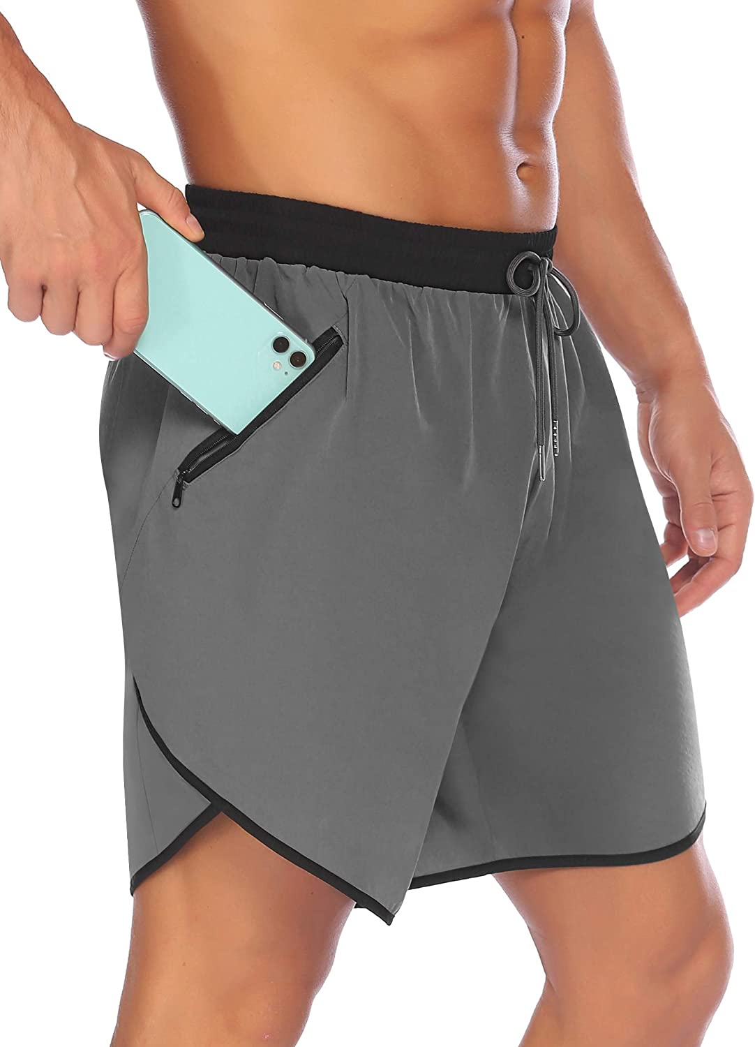"""COOFANDY Men's 7"""" Running Shorts Quick Dry Gym Workout Short Pants Bodybuilding Training Athletic Jogger with Zipper Pockets"""