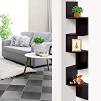 Artiss 5 Tier Corner Wall Shelf Wooden Floating Display Bookshelf, Dark Brown