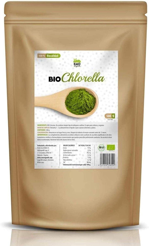 EMO Bio Chlorella Ecológica - 500 gramos - 100% Ecológica - Rica en Proteína Vegetal - Beneficiosa para la Salud - Rica en Clorofila - Apto para ...