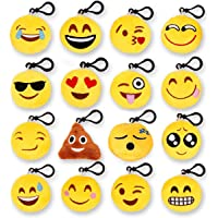 """Kyerivs Emoji Keychains, Smiley Emoticon Round Faces, Yellow Pillow Keychains Bag Accessory Set Kids Gift Funny Children Party Favors, 2"""" Set of 16"""