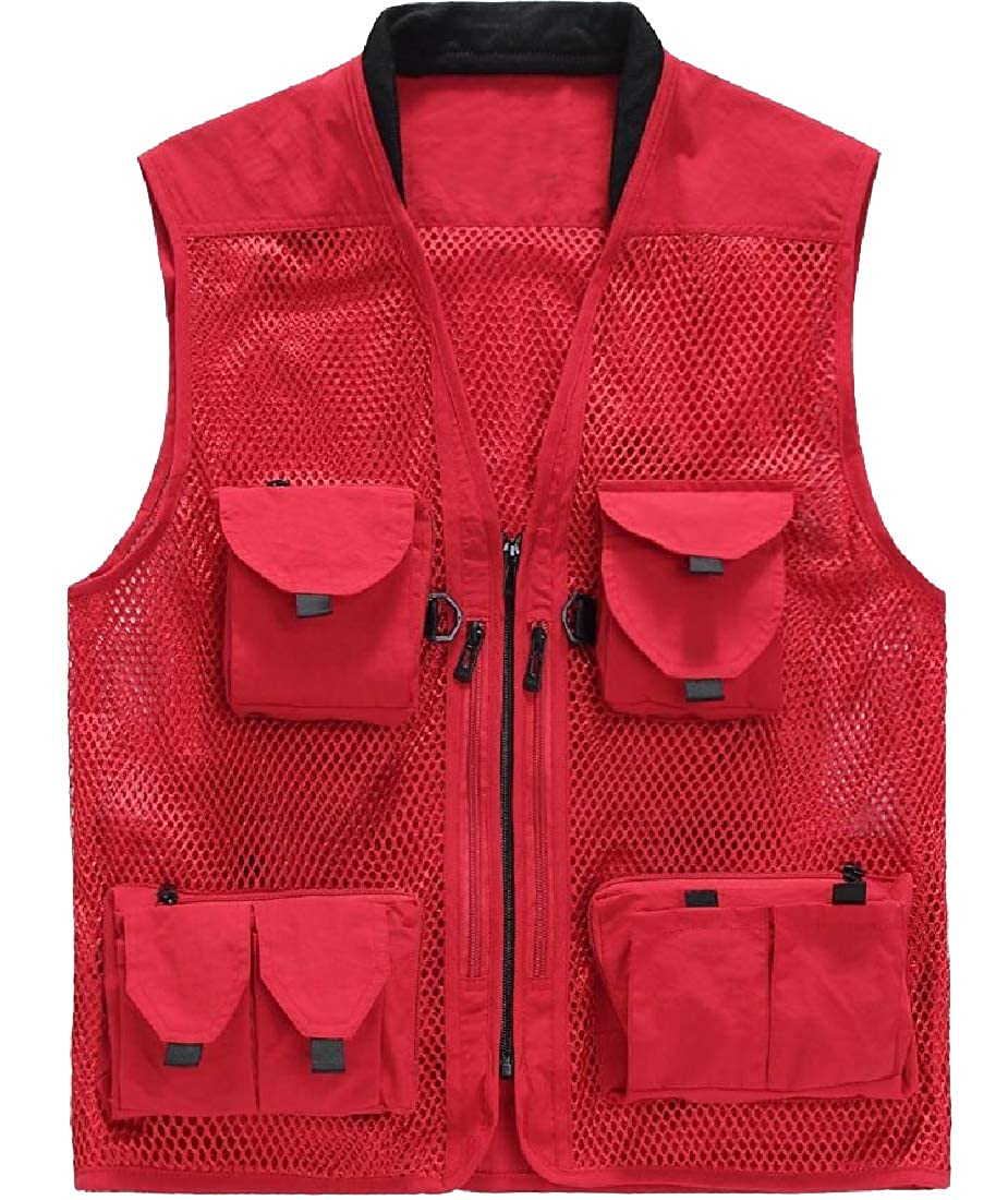 Andopa Mens Casual Loose Honeycomb Outdoor Packable Jacket Vest