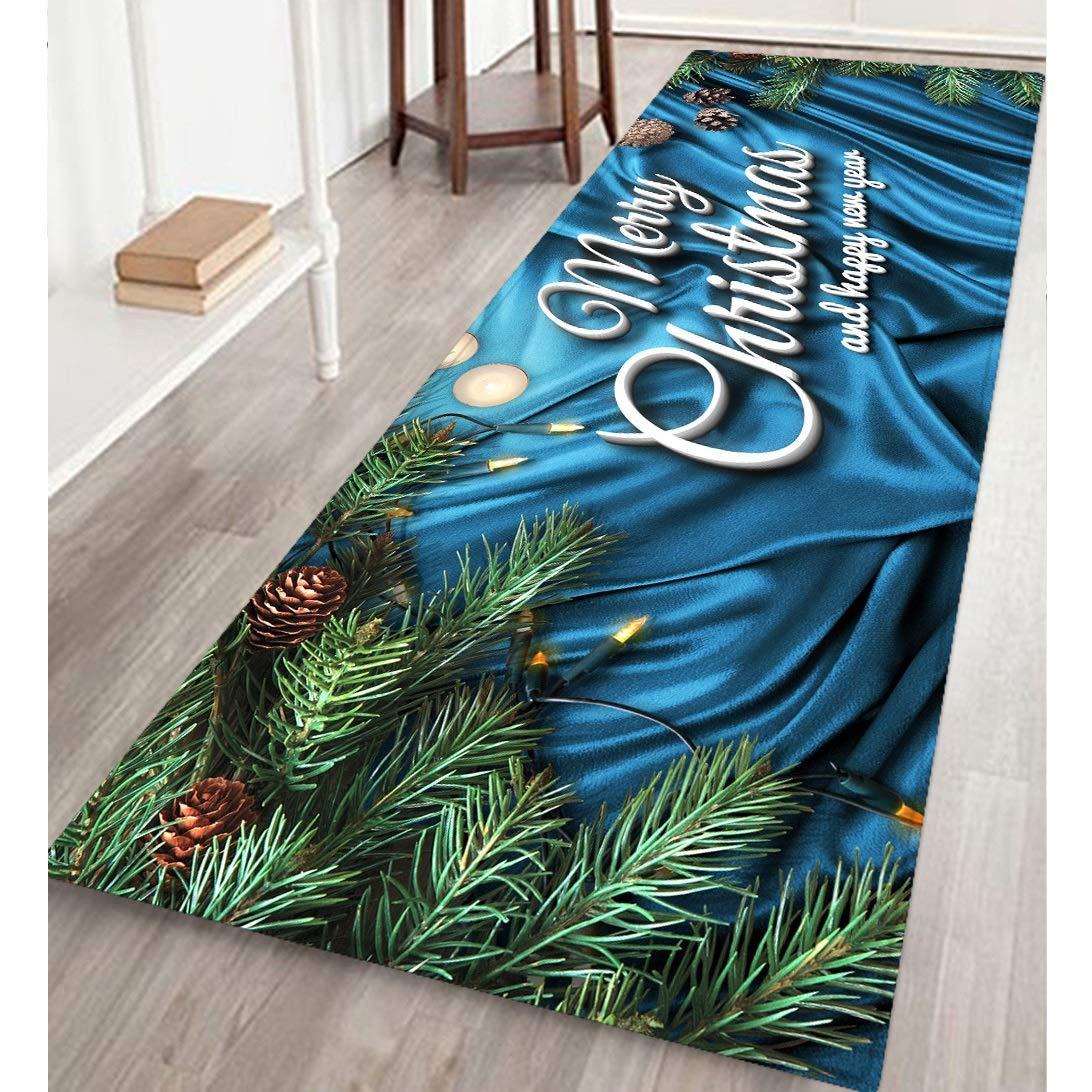 Danping 40x120cm Alfombra Larga Antideslizante de Bienvenida Felpudo Impreso de Feliz Navidad para Interiores y Exteriores a