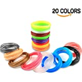 Airsspu 3D Printer Filament - 3D Pen Filament Refills(20 Colors Including 6 Glow, 32.8 Feet Each) - PLA 1.75mm 3D Printing Pen Filament Total 656 Feet for 3D Doodler Pen