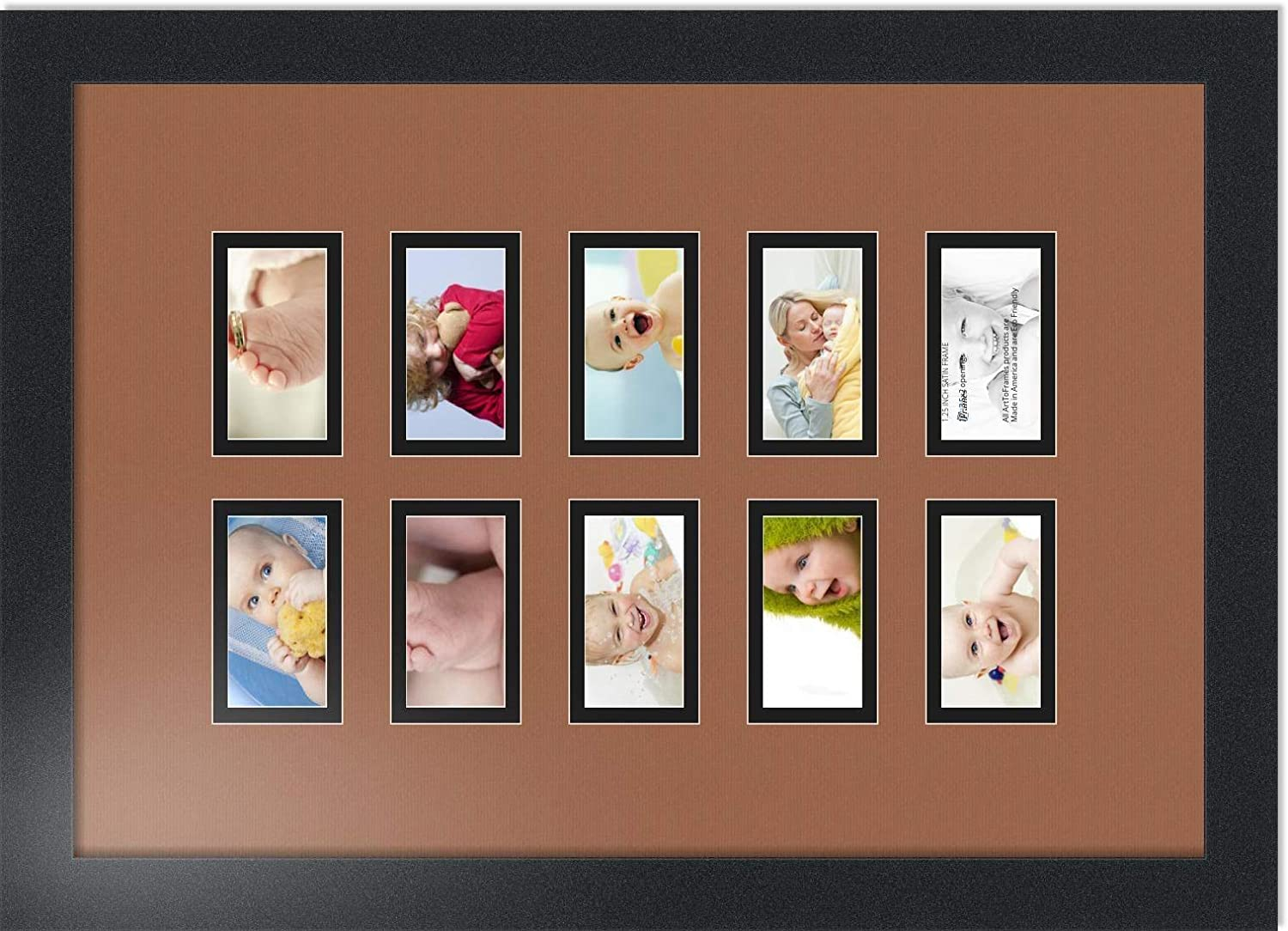Art to Frames Double-Multimat-404-844//89-FRBW26079 Collage Photo Frame Double Mat with 10-2x3.5 Openings and Satin Black Frame ArtToFrames