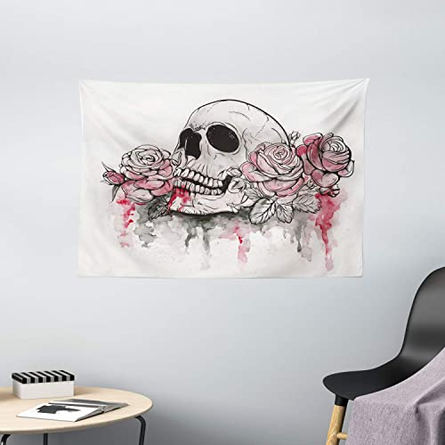 Ambesonne Day of The Dead Tapestry, Print of Skull Dead with Romantic Roses Celebration Day, Wide Wall Hanging for Bedroom Living Room Dorm, 60 X 40 , White Pink