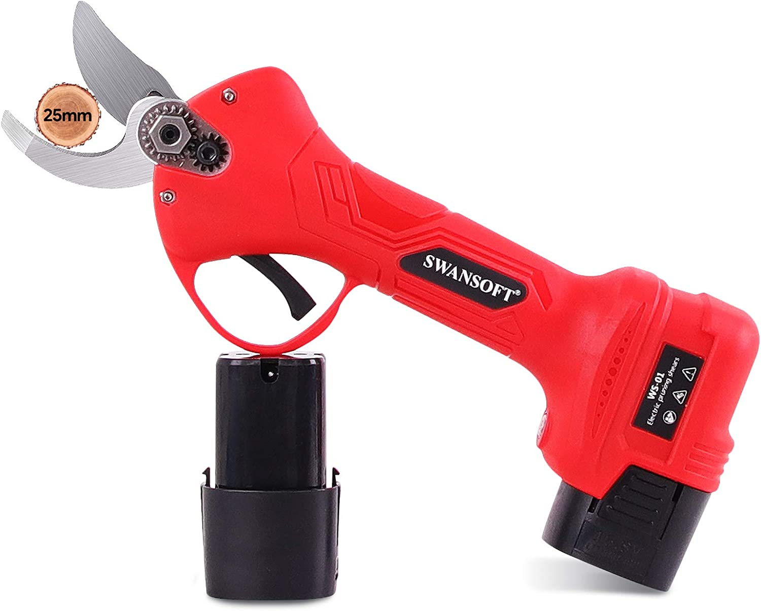 SWANSOFT Electric Pruning Shears with 1 Inch Cutting Diameter, Cordless Garden Pruning Shears, Professional Electric Pruner with 2 Ah Rechargeable Battery