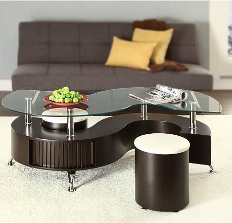 En Forme De S Curve Table Basse En Verre Avec 2 Poufs Simili Cuir Design Moderne Amazon Fr Cuisine Maison