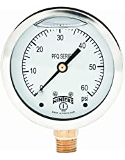 "Winters PFQ Series Stainless Steel 304 Single Scale Liquid Filled Pressure Gauge with Brass Internals, 0-60 psi, 2-1/2"" Dial Display, -1.5% Accuracy, 1/4"" NPT Bottom Mount"