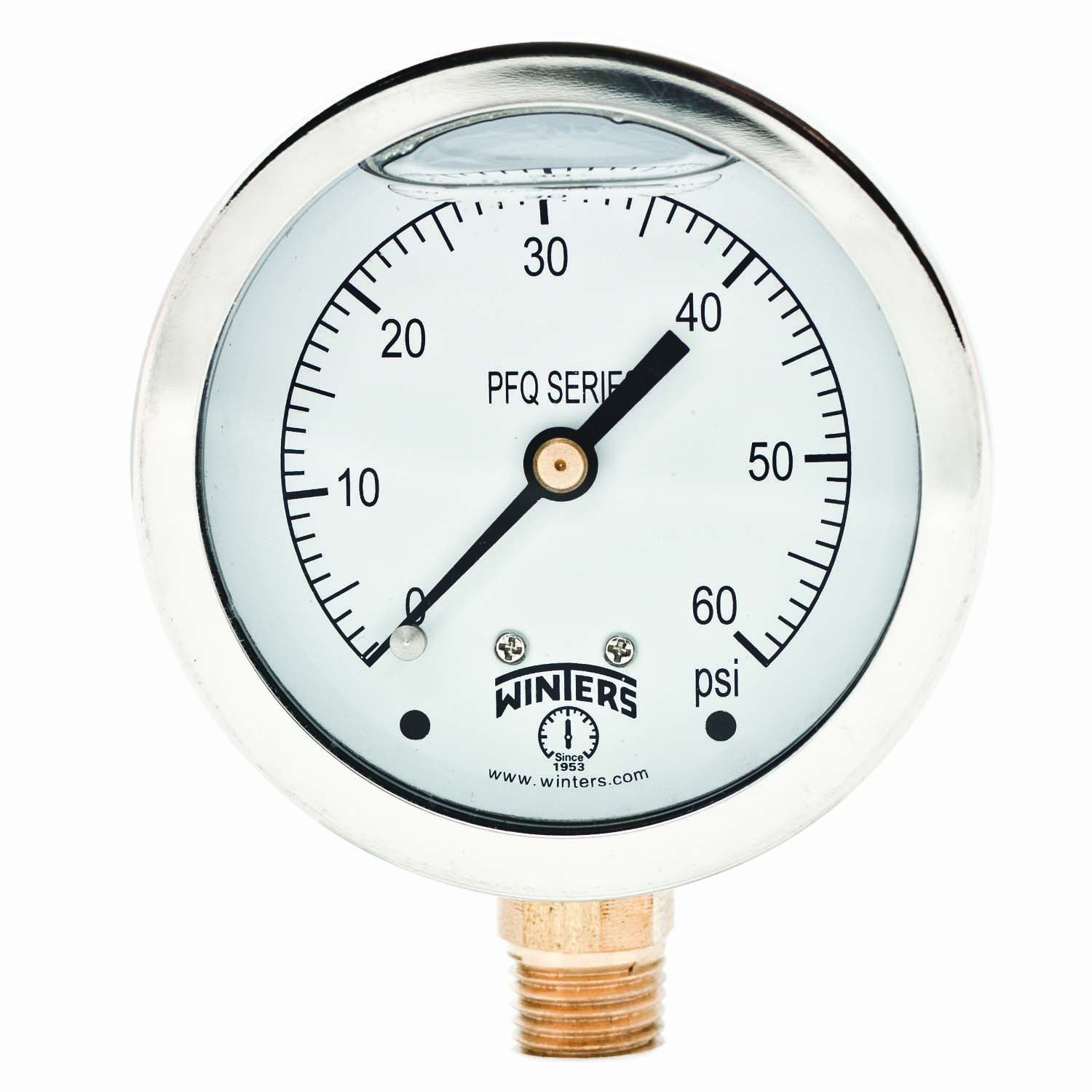 """Winters PFQ Series Stainless Steel 304 Single Scale Liquid Filled Pressure Gauge with Brass Internals, 0-60 psi, 2-1/2"""" Dial Display, +/-1.5% Accuracy, 1/4"""" NPT Bottom Mount"""