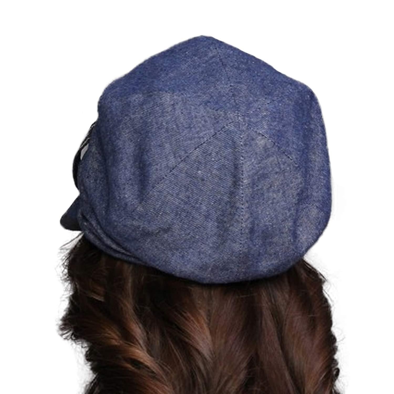 UKURO Women Cotton Visor Beret Baggy Fashion Newsboy Caps Solid Color,Denim Blue,56 to 58cm by UKURO (Image #2)