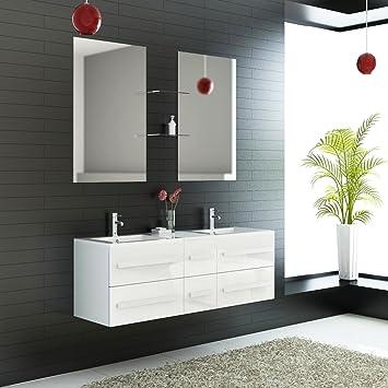 lestockdesign Meuble Salle de Bains Double Vasque 152 cm + 2 Miroirs ...