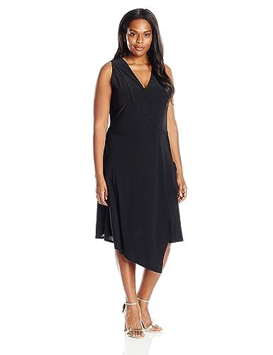 Star Vixen Women's Plus-Size Sleeveless Asymmetrical Dress with Fold Over Collar