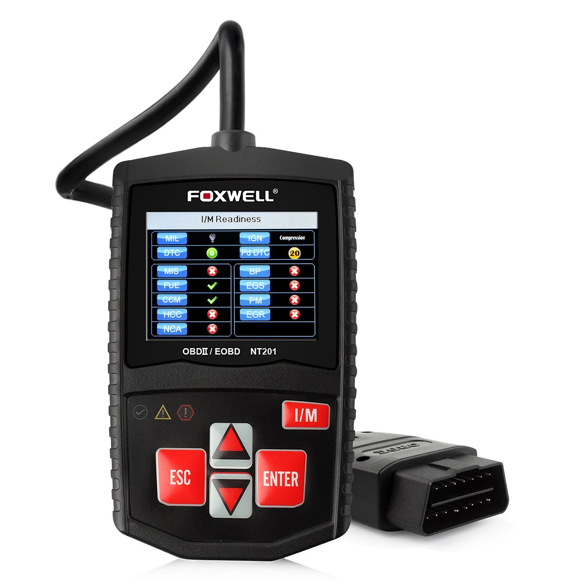 FOXWELL DIY OBD2 OBD II Scanner Automotive Diagnostics Codes Scan Tools Check Car Engine Light Fault Code Readers Auto Diagnostic Tester for OBDII Vehicles (NT201 Black)