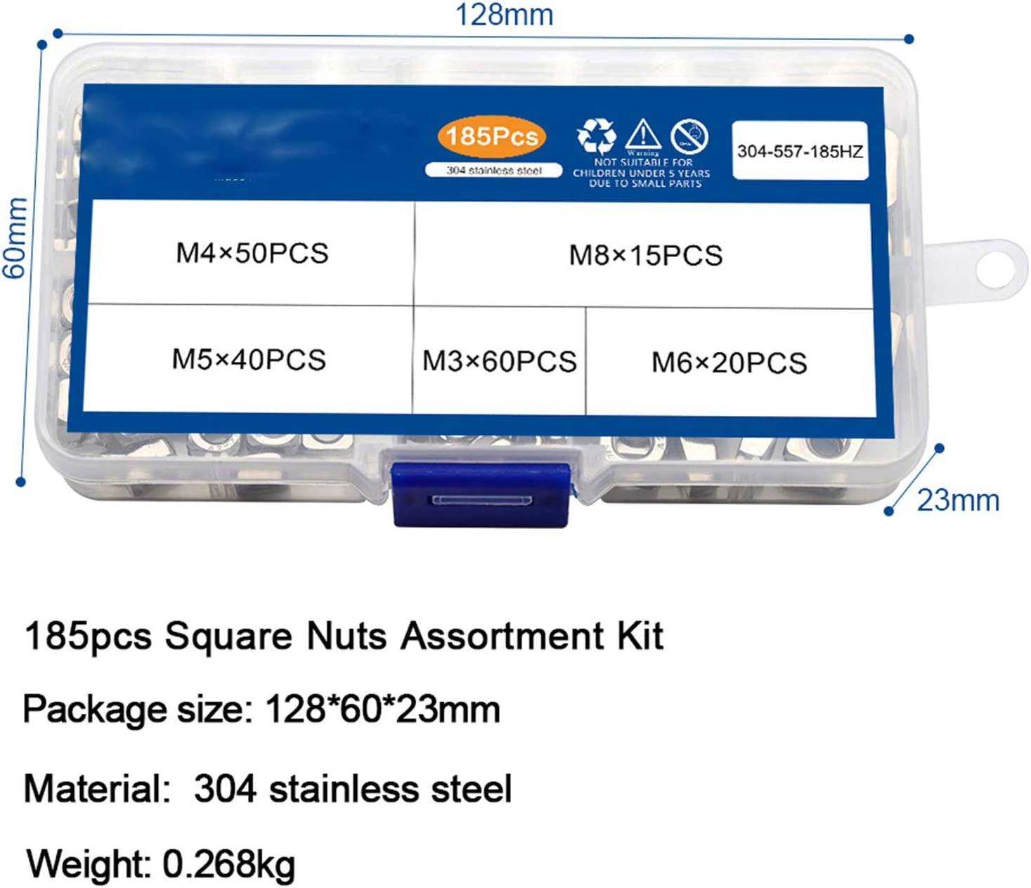 185pcs Square Nuts Assortment Kit A2 Stainless Steel M3 M4 M5 M6 M8 Metric Square Nuts Set Din557 Four-Sided Nuts