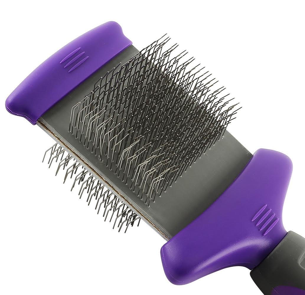 Hertzko Double Sided Flexible Slicker Brush By Removes Loose Hair, Tangles, and Knots, Flexible Head Contours on Your Pet's Skin - Suitable for Dogs and Cats by Hertzko (Image #2)