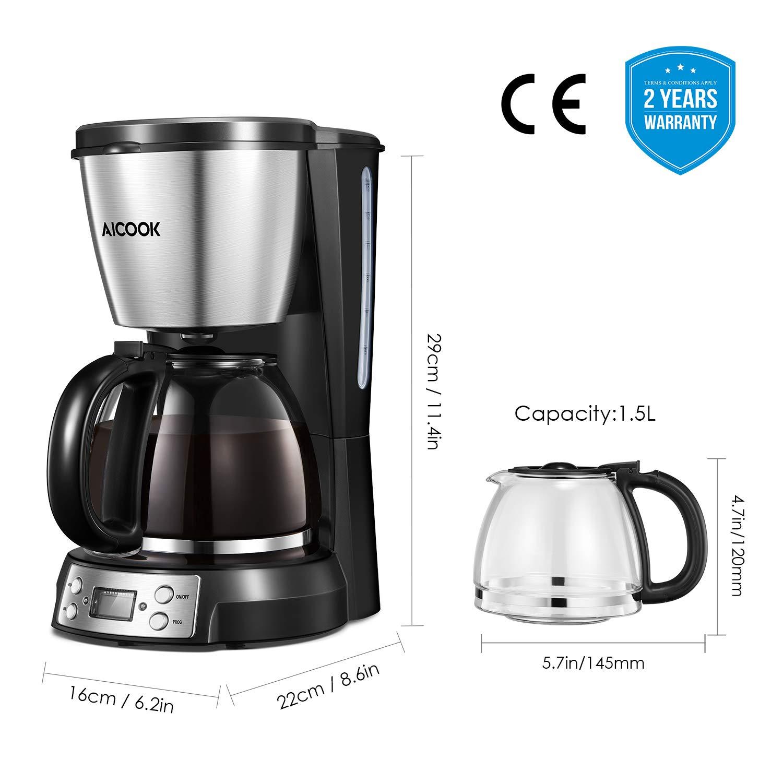 Cafetera con temporizador Aicook Cafetera de filtro con jarra de ...
