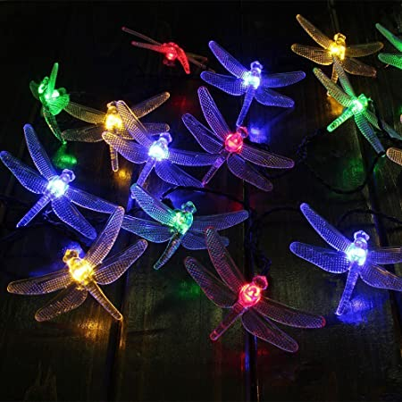 Blue 20 LED Dragonfly Waterproof Solar Outdoor String Lights KEEDA 16ft Solar Power LED Decorative Lighting for Outdoor Garden Christmas Party Decorations Lights
