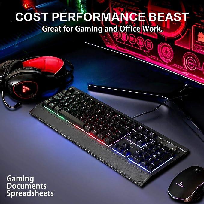 LYCANDER - Teclado Gaming Español con cable USB (1.8m), 19 teclas anti-ghosting, retroiluminación LED arcoíris