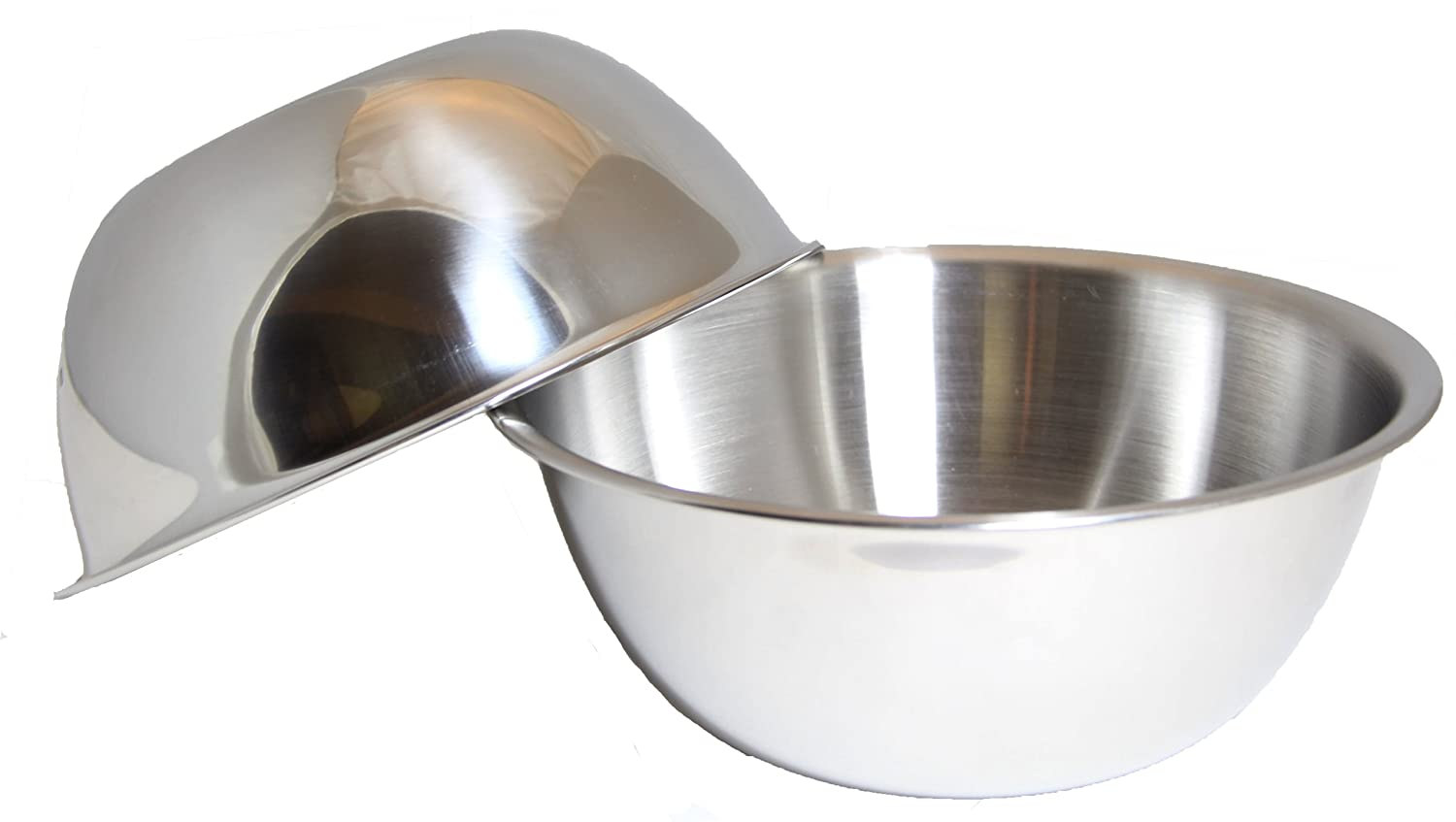 SET OF 2, 5-Quart Heavy-Duty Deep Stainless Steel Flat Base Mixing Bowl