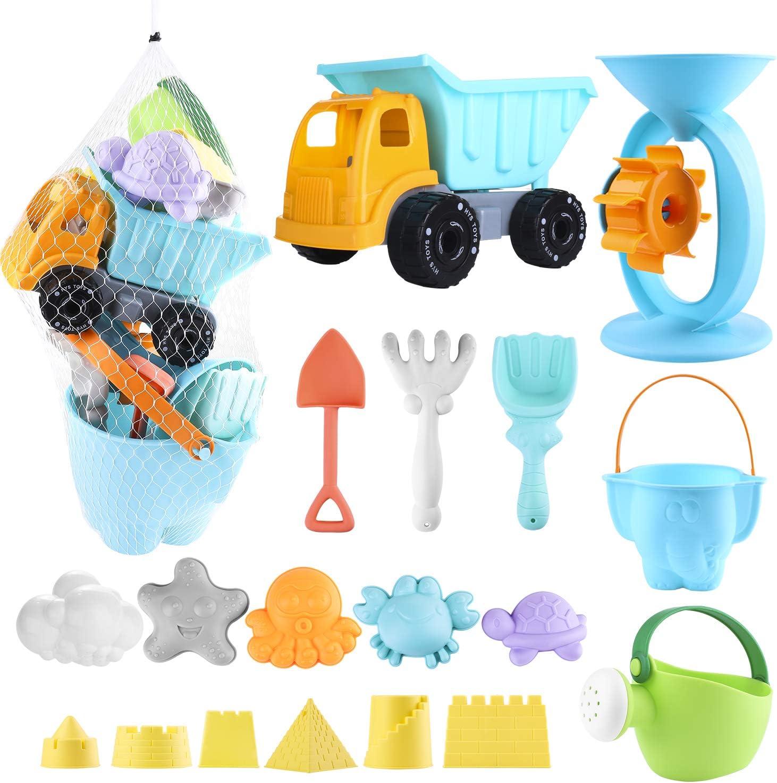 Biulotter 20Pcs Kids Beach Sand Toys Set Sand Water Wheel, Castle Molds, Truck Bucket, Beach Shovels RakesTool Kit, Hourglass, Sea Animal Molds, Watering Can, Cloud, with Mesh Backpack Sandbox