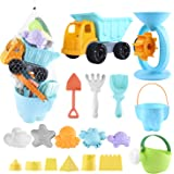 Balnore Kids Beach Sand Toys,20 Pieces Sand Toys Set in Reusable Mesh Bag with Pail Car Animals Castle and Other Tools Kit Macaron