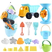Biulotter 20Pcs Kids Beach Sand Toys Set Sand Water Wheel, Castle Molds, Truck Bucket, Beach Shovels RakesTool Kit, Hourglass, Sea Animal Molds, Watering Can, Cloud, with Mesh Backpack Sandbox 2019