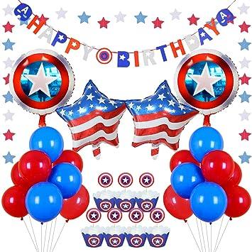 Kreatwow Rojo Blanco Azul Decoraciones del Partido Escudo Globos Cupcake Toppers envolturas para niños Decoraciones de la Fiesta de cumpleaños
