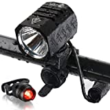 Te-Rich USB Rechargeable Bike Lights, 1200 Lumens CREE XM-L2 Bright LED HeadLights Headlamp Waterproof Cycling Bicycle Lights with FREE Taillight Safety Rearlight (4400mAh Batteries Included)