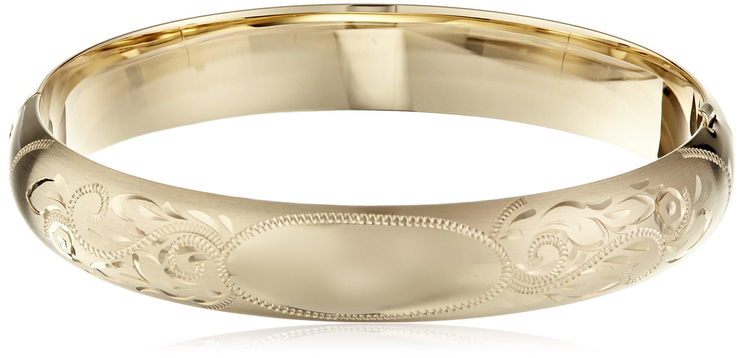14k Gold-Filled Engraved Hinged Bangle Bracelet