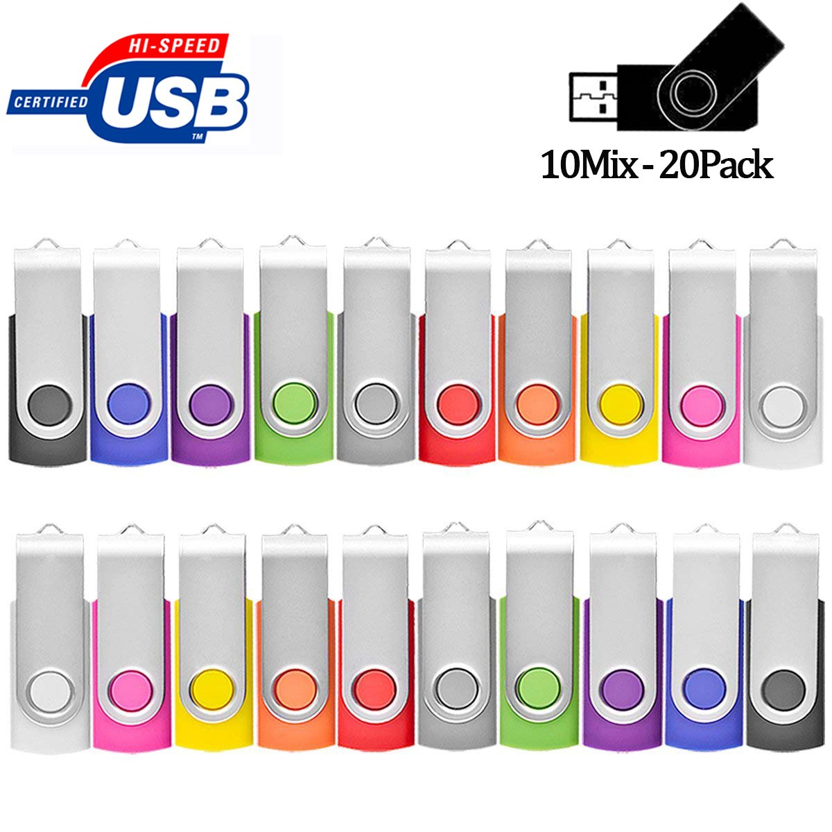 USB Flash Drive 1GB 20 Pack Bulk, Pen Drive AreTop USB2.0 Gig Stick Memory Stick Swivel Thumb Drives for Fold Date Storage (20Pcs-Multicolors)