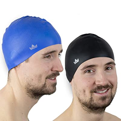 NEW BLACK /& FREE POUCH FITNESS 100/% SILICONE SWIMMING CAP HAT SILVER RED