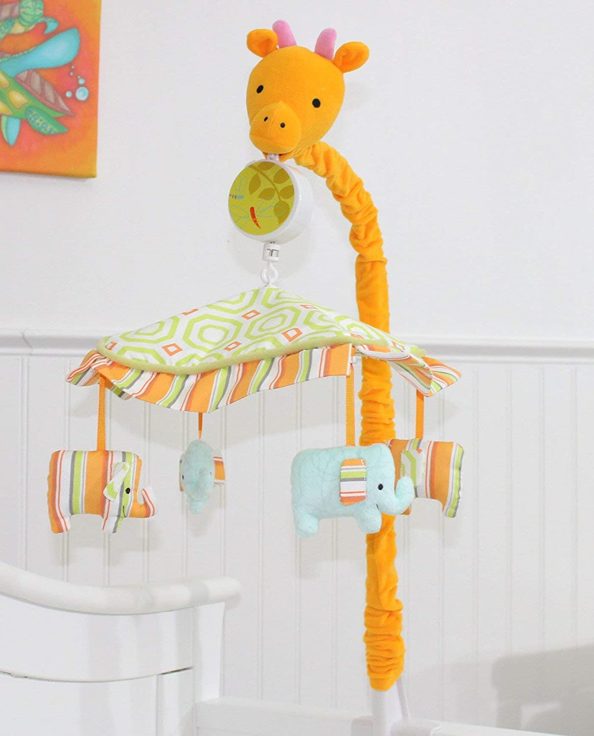 Jungle Safari My ABCs Friends Giraffe Musical Crib Mobile Elephants