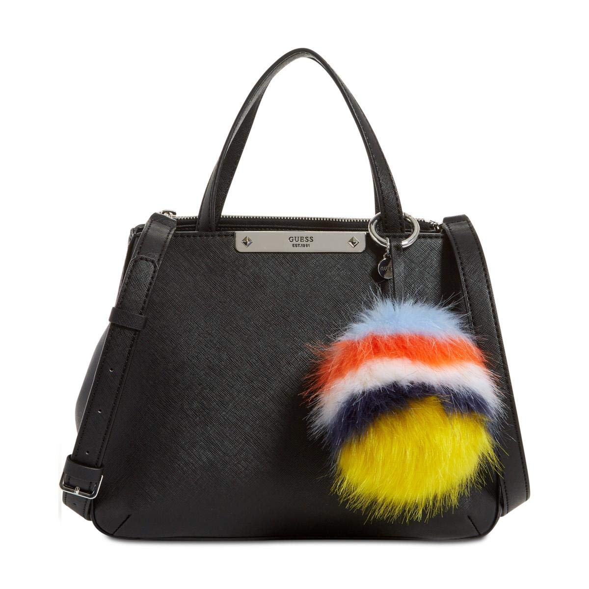 Guess Womens Britta Organizational Faux Leather Satchel Handbag Black Medium