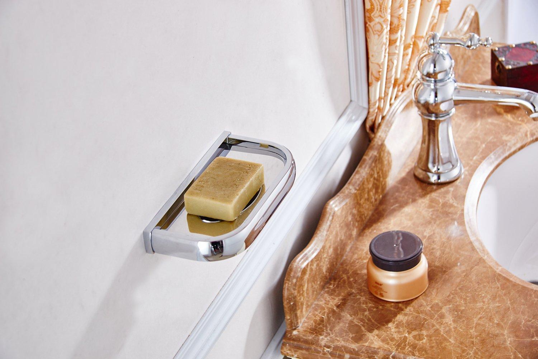 Flybath Bathroom Soap Dish Holder Brass Wall Mounted Bright Silver Chrome Finish
