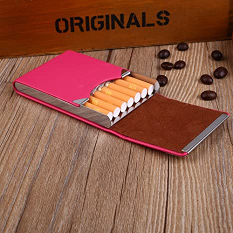 Tiptiper Caja de cigarrillos rojo caja de cigarros de cuero de la PU Caja de cigarrillos de cigarrillos de metal cl/ásico regalo para fumar