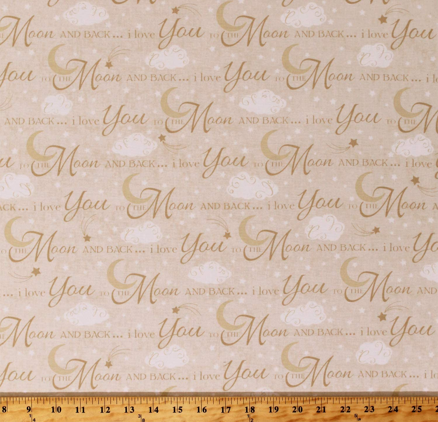 Upholstery Printed Craft Panel Love you to the moon and back Cushion