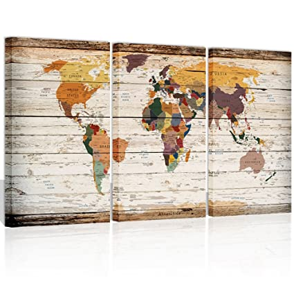 Xlarge Vintage World Map Canvas Prints Atlas Framed Map Wall Art Decor For  Travel Pin Marks
